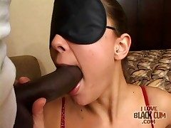 Cute brunette sucks sensually overhead Negro cock
